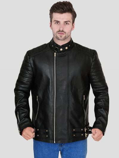 Black Faux Leather Winter Jacket For Men