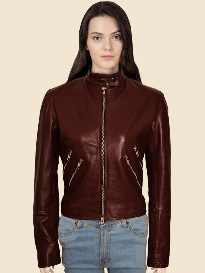 Biker Maroon Real Leather Jacket For Women's