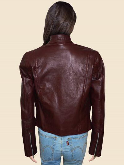 Biker Maroon Real Leather Jacket For Women's