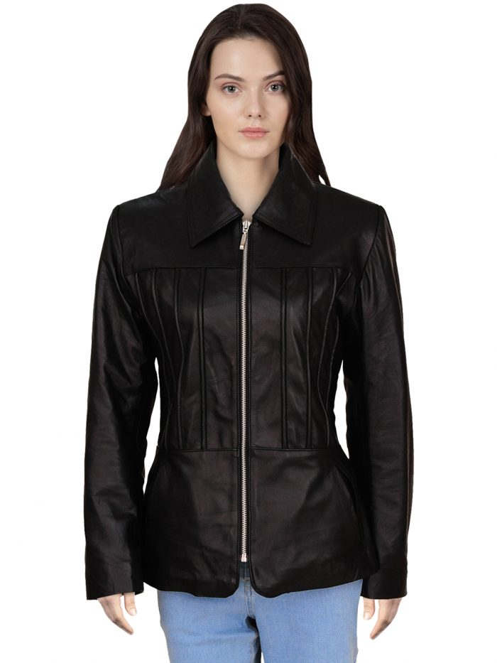 Stylish Black Real Leather Jacket For Women