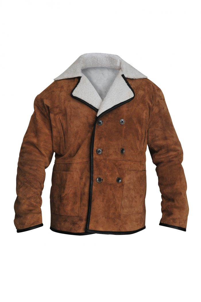 Brown Suede Leather Jacket with Shearling For Men