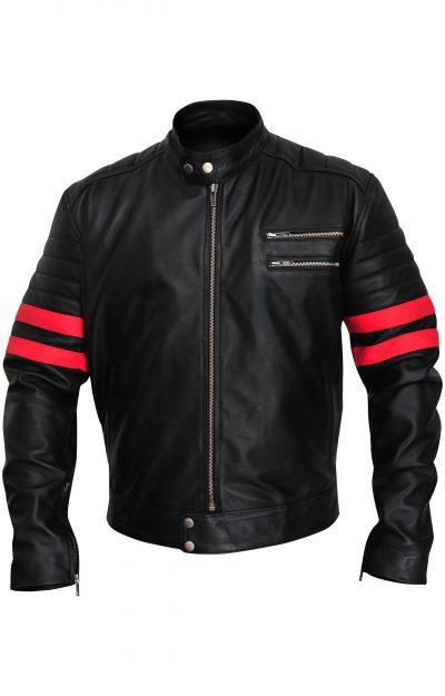 Fashion Biker Black Faux Leather Jacket For Men's