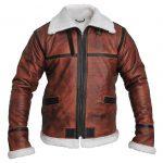 Brown Real Leather Mens Designer Shearling Jacket