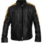 Stand-Up Belt Collar Faux Black Leather Jacket Mens