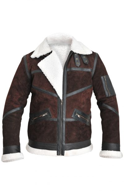 Shearling Bomber Mens Brown Suede Leather Jacket