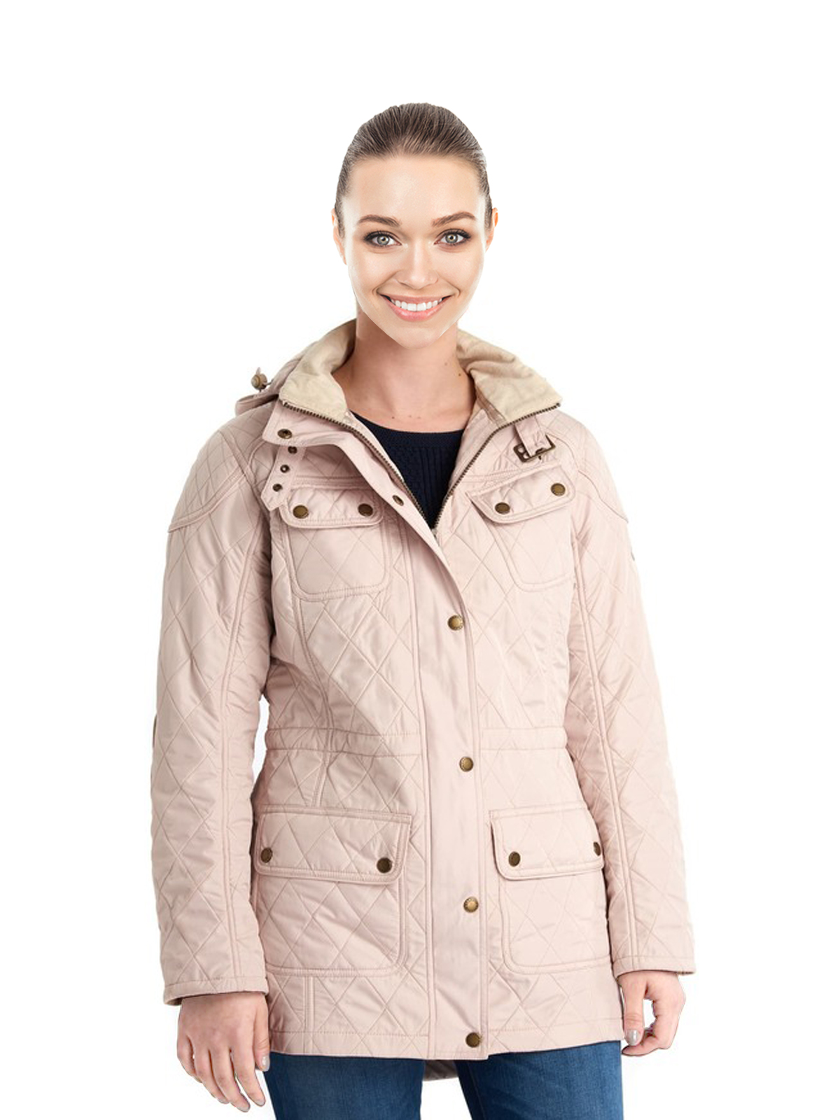 Women Quilted Hooded Anorak Pink Coat