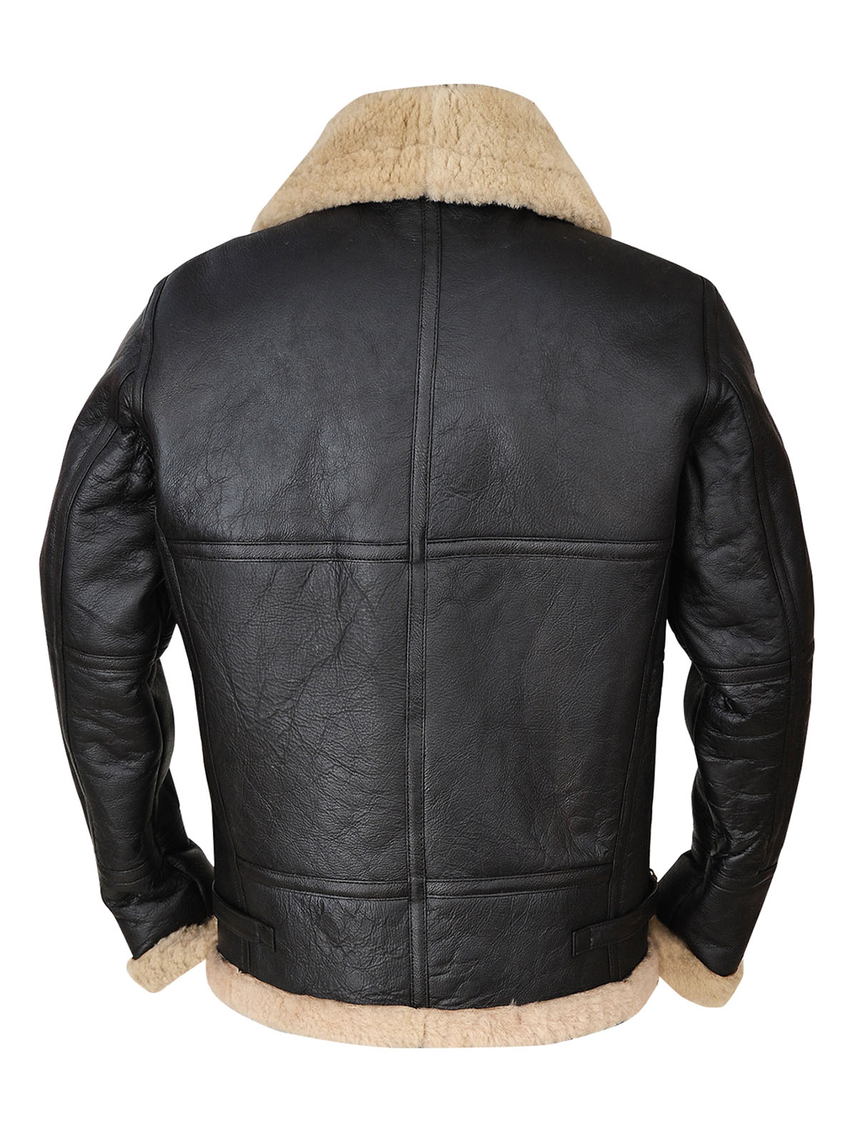 Men's black B3 bomber aviator shearling leather jacket