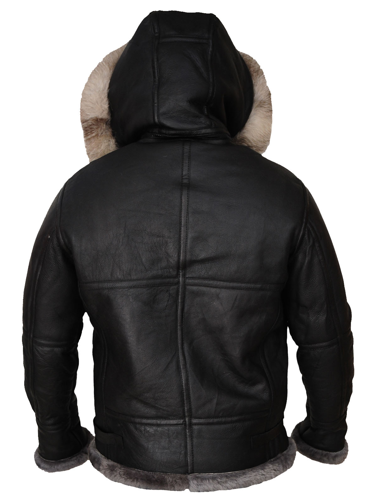 Men's black shearling jacket with hoodie