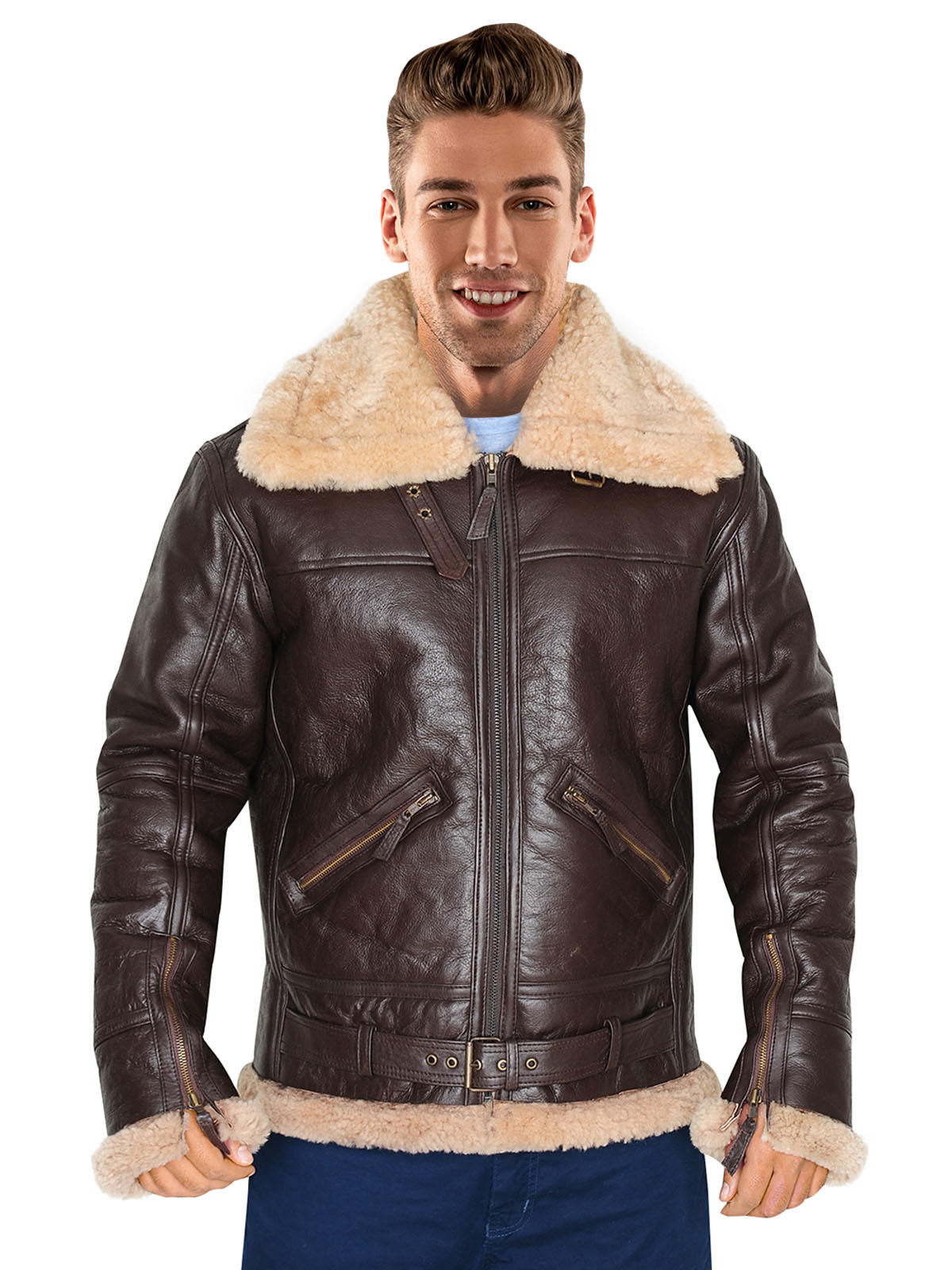 Men RAF fighter shearling black bomber leather jacket