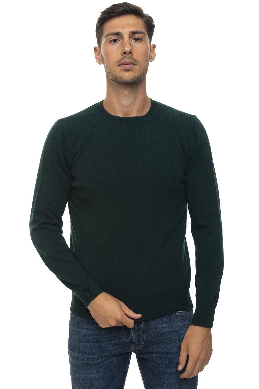 Andrea Fenzi Round-neck Pullover Green Wool Man In Dark Green