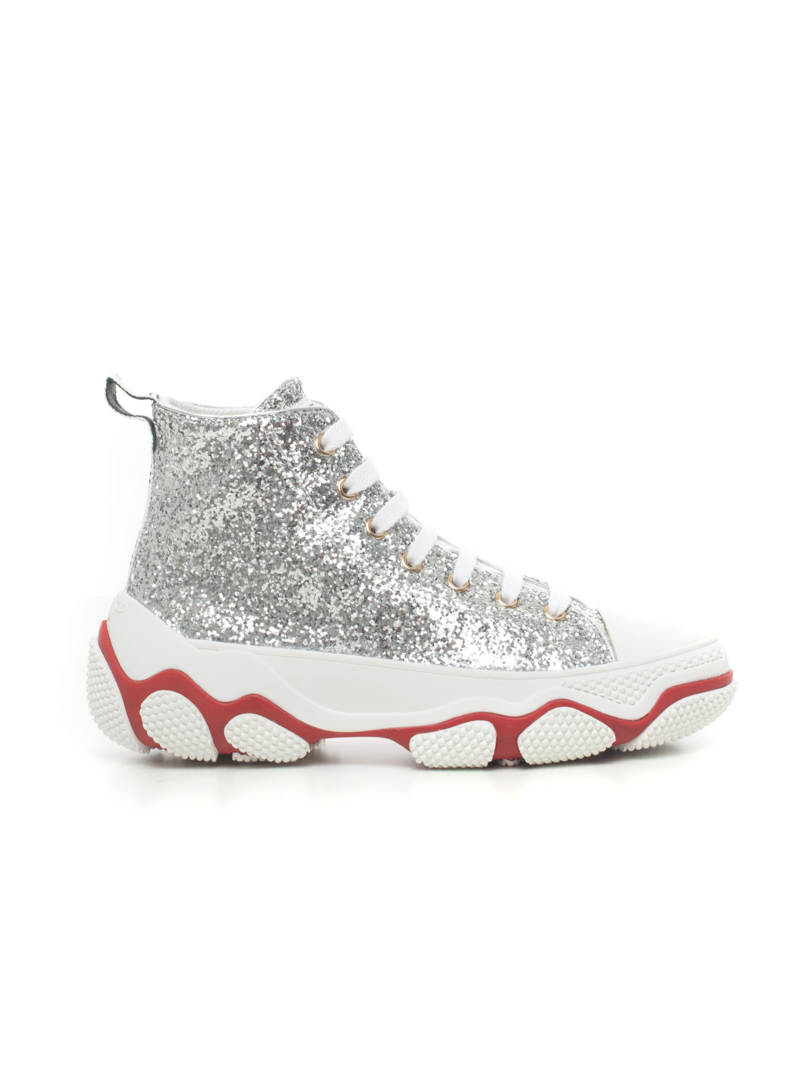 Red Valentino SNEAKERS WITH LACES SILVER ELASTODIENE WOMAN