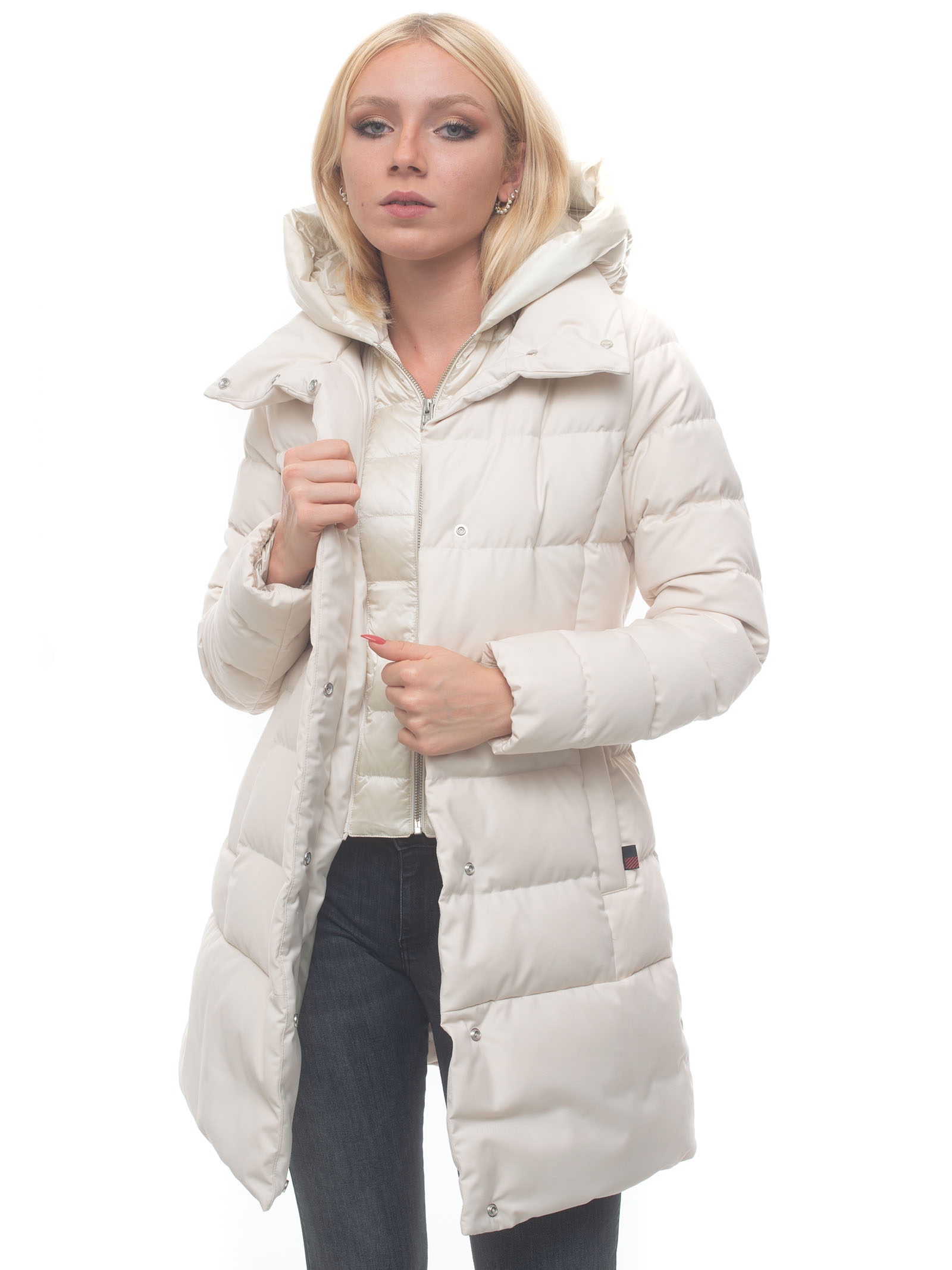 Woolrich W's Luxe Puffy Prescott Hooded Jacket White Polyester Woman