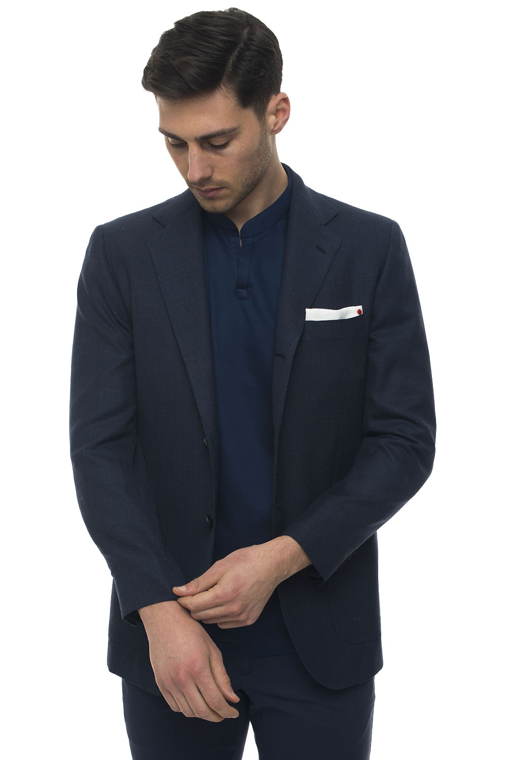 Kiton DECONSTRUCTED-UNLINED BLAZER WITH 3 BUTTONS BLUE VIRGIN WOOL MAN