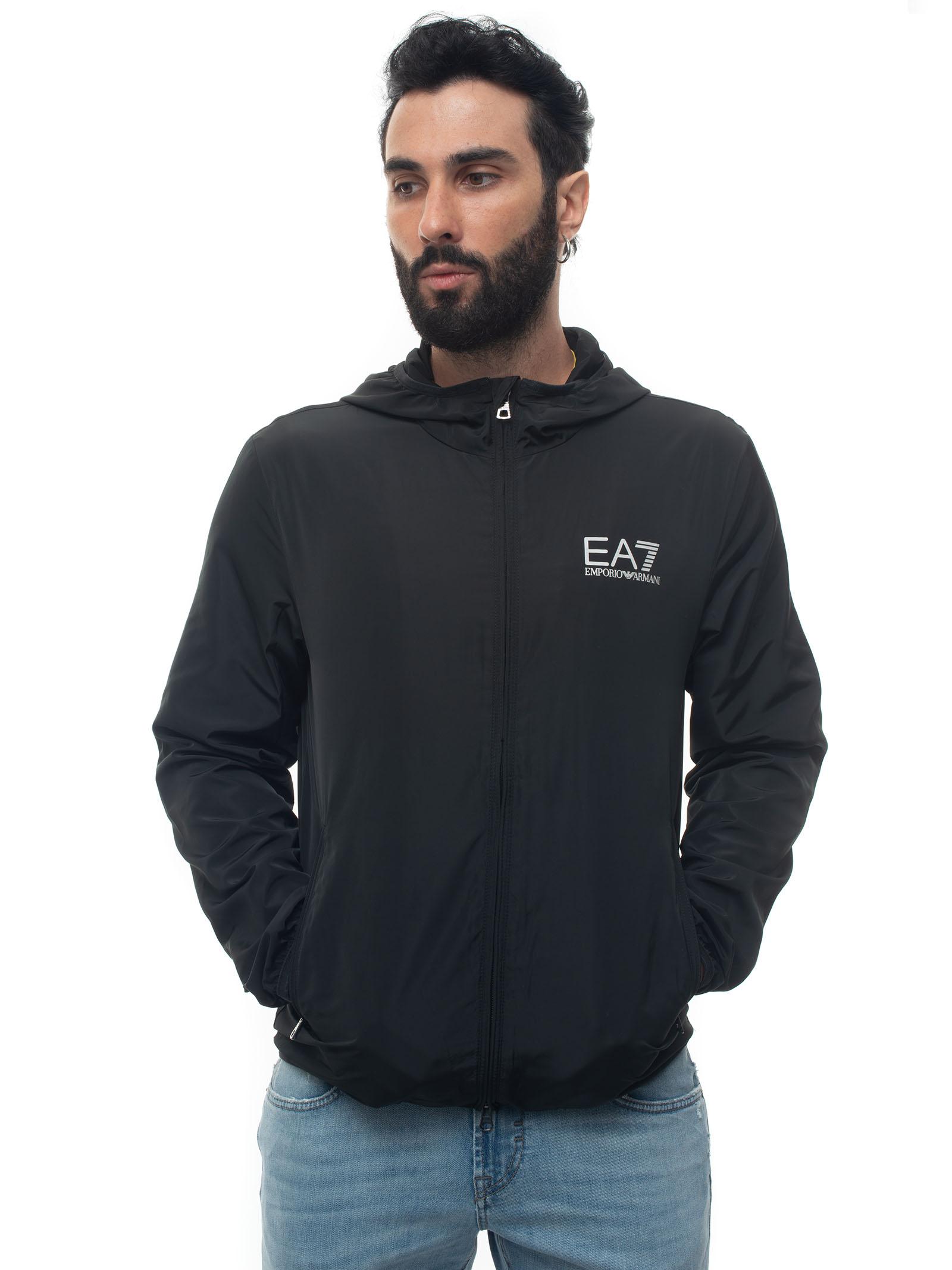 Ea7 Windbreaker Jacket Black Polyester Man In White