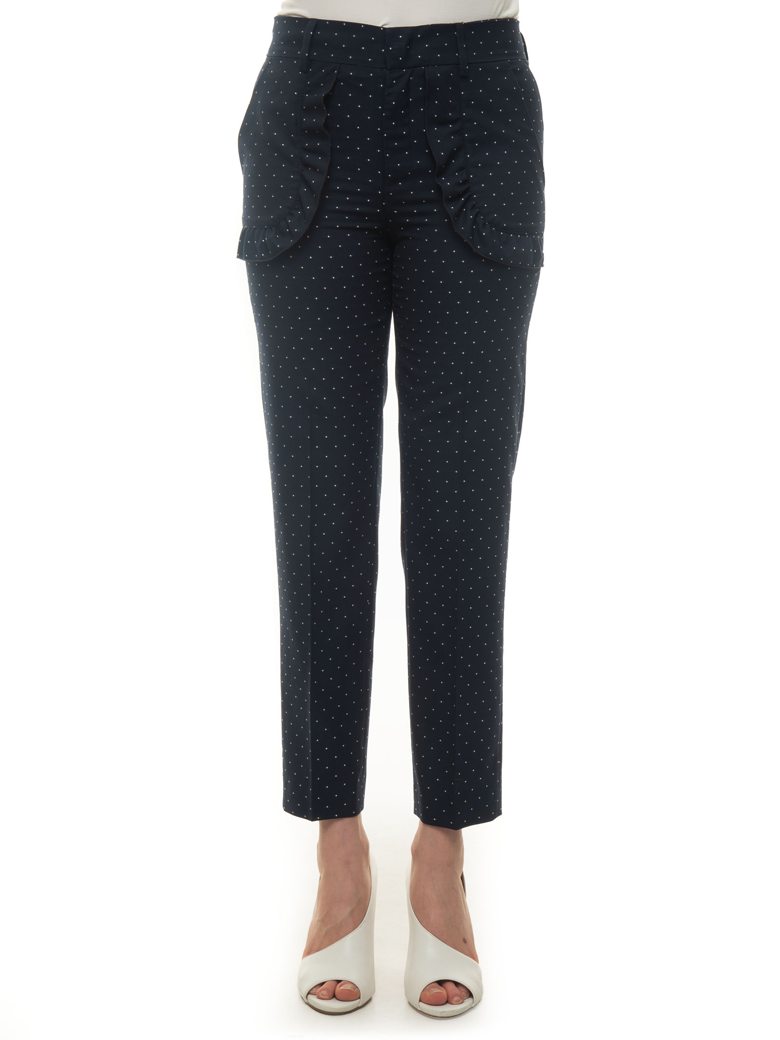 Red Valentino Straight pants CLASSICAL TROUSERS IN LIGHT WOOL BLUE COTTON WOMAN