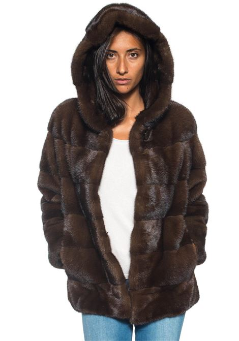 Cropped fur coat Antonella Ponzi | 20000061 | VIS114AHMARRONE