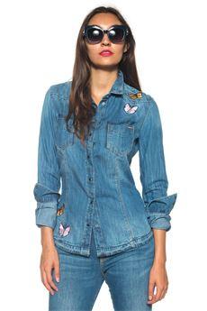 Camicia da donna in jeans Guess | 6 | W73H11-D14LZAMCA