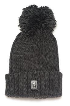 Rib hat with pom poms Refrigue | 5032318 | CAP-R85002NAS2UCHARCOAL