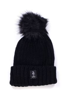 Rib hat with pom poms Refrigue | 5032318 | CAP-R85047NAT2WBLACK