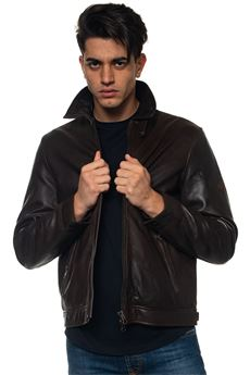Leather harrington jacket Roy Rogers | -276790253 | MOTO LEATHER WASHEDMORO