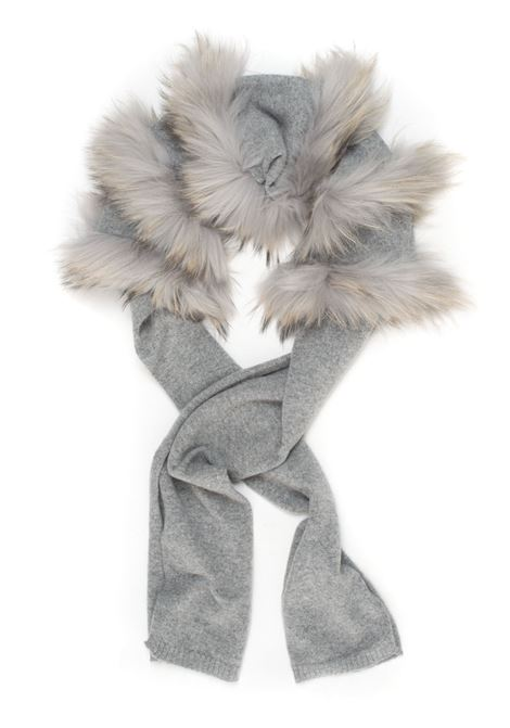Scarf with fur Vanisé | 77 | V41601GRIGIO MEDIO