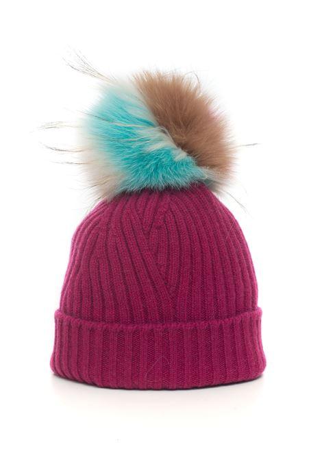 Cappello in maglia con pon-pon Vanisé | 5032318 | V61655LAMPONE