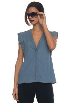 Top v neck Blue Les Copains | 6 | 0J22050147