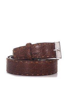 Cintura in coccodrillo Kiton | 20000041 | USCLO N10215COGNAC