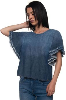 Mauke Blouse with short sleeves Roy Rogers | 6 | TOP16-DENIM LINOMAUKE