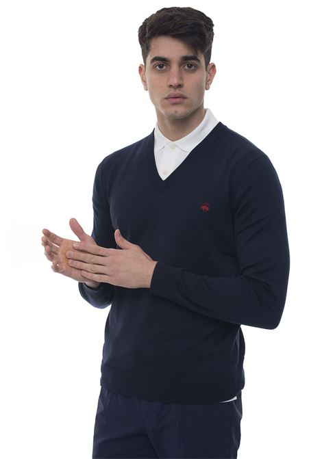 Pullover collo a V Brooks Brothers | 7 | 100130281BLU