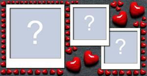 Linda moldura de corações com 3 fotos dos seus álbuns!