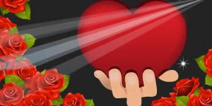 Linda moldura romântica de coração com rosas vermelhas. Faça a sua!