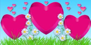 Moldura de Margarida com Foto nos Corações Pink. Faça a Sua!
