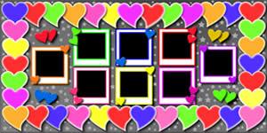 Mosaico de Corações Coloridos com 7 Amigos. Faça o Seu!