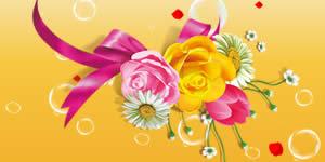 Bela montagem de flores com 4 das suas melhores fotos. Faça a sua!