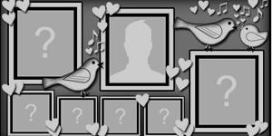 Moldura de passarinhos em preto e branco com 6 amigos!