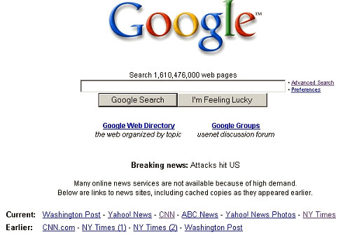 Google 9/11 2001 home page.