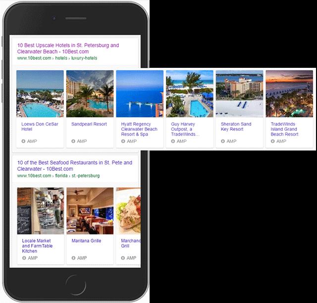 Google AMP Hotel Listing Carousel