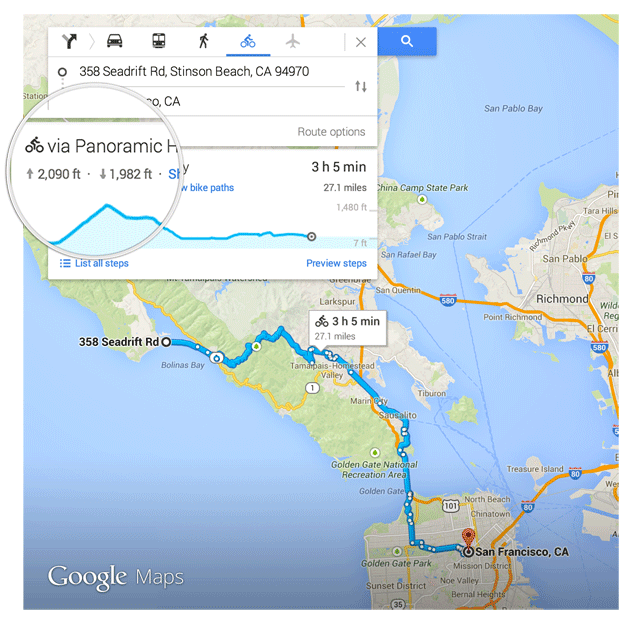 Google Maps Biking Directions Elevation Profiles