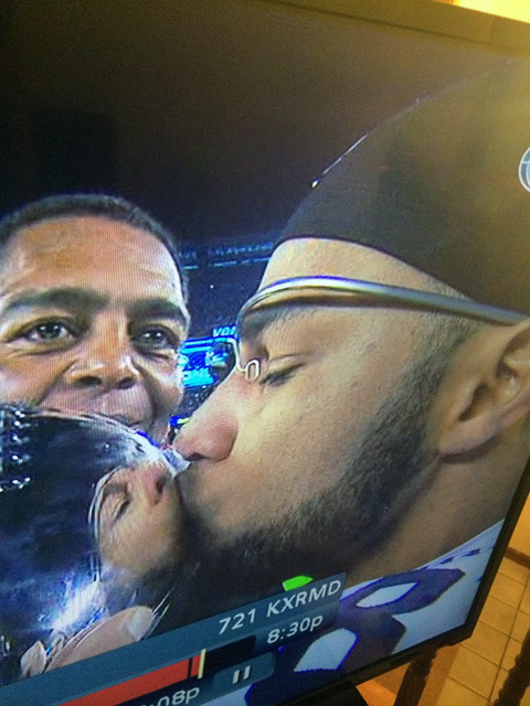 Google Glass On Golden Tate With Vince Lombardi Trophy