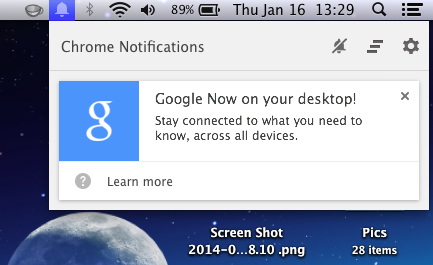 Chrome Adds Google Now Notifications