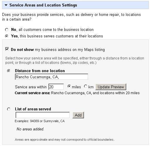 Google Places Areas Served