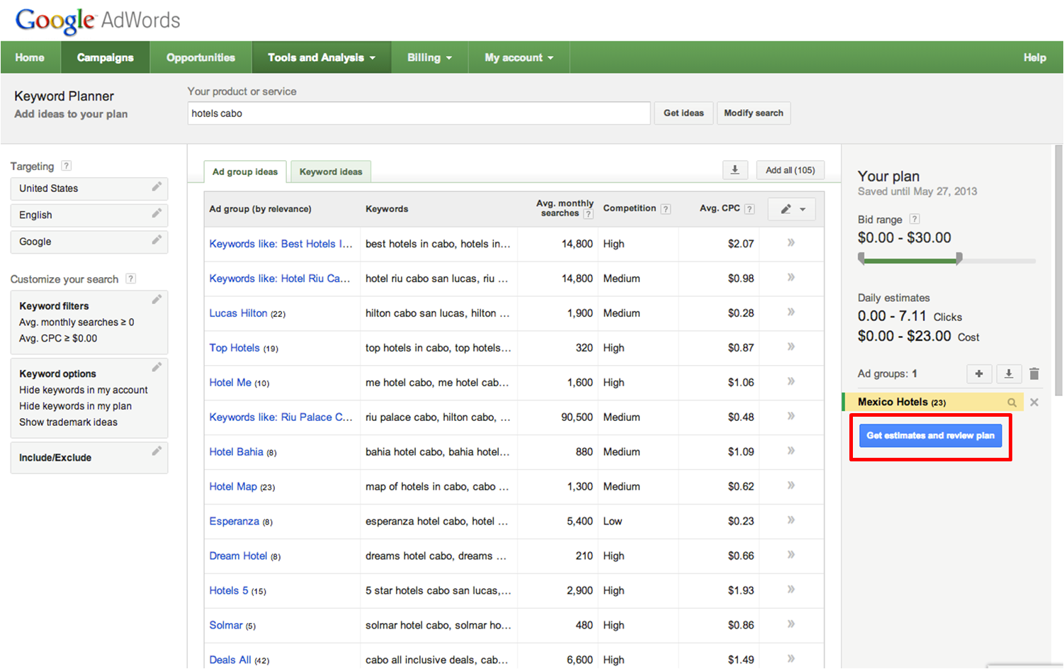 the google adwords keyword ad planner Keyword Search Tool click for full size