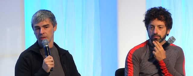Larry Page and Sergey Brin with Vinod Khosla