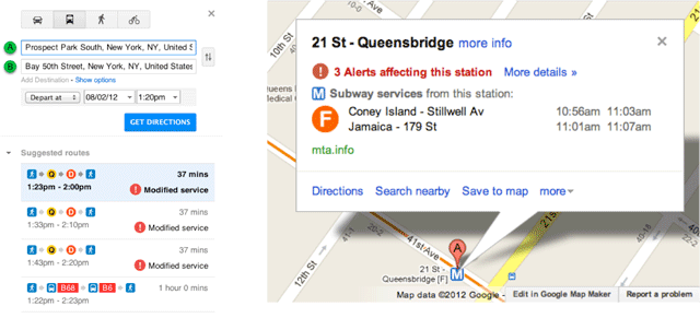 Google Transit/Maps NYC Subway Alerts