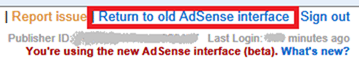 Adsense: return to the old interace