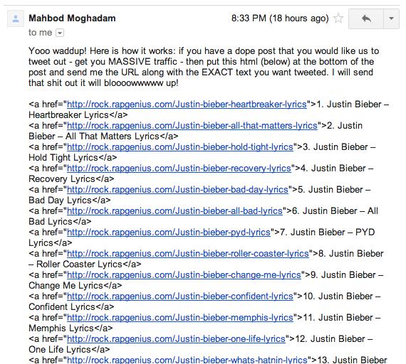 Rap Genius Link Scheme email