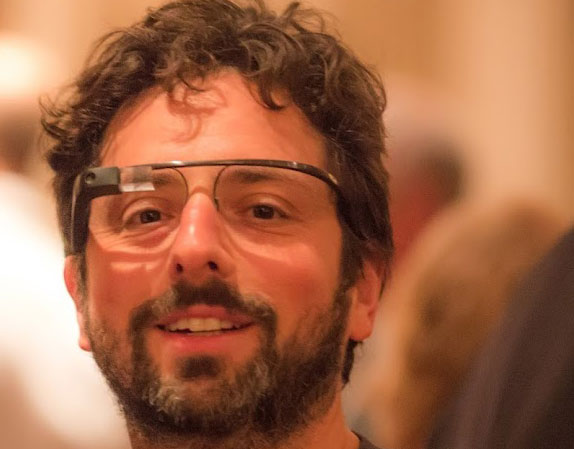 Google's Sergey Brin With Google Glasses
