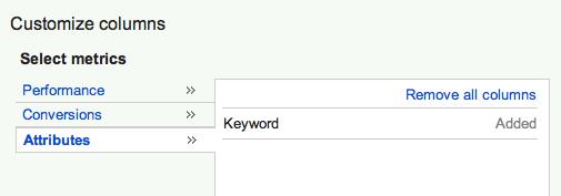 Keyword Column