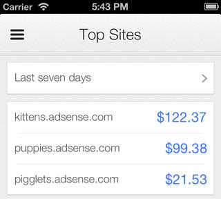 Google AdSense iOS App Top Sites